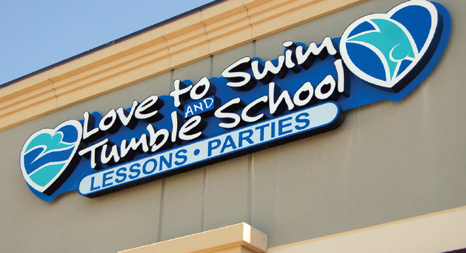 Love to Swim and Tumble School Sign