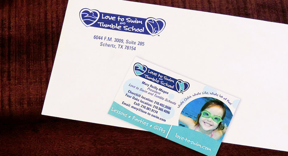 Love to Swim and Tumble School Business Card and Envelope