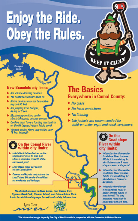Keep New Braunfels Clean River Rules Poster