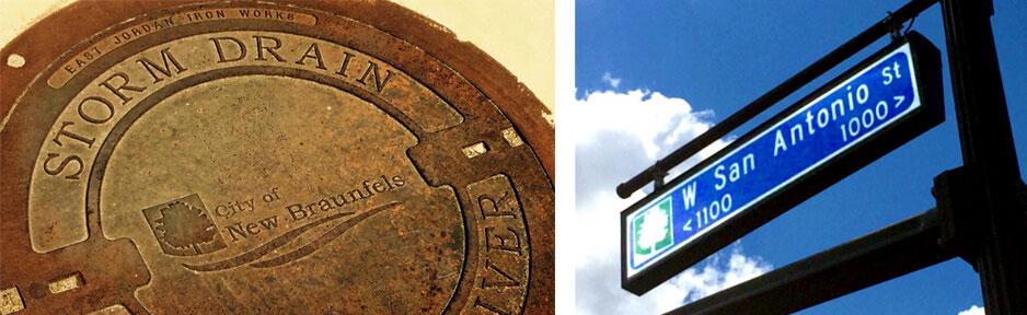 City New Braunfels, TX storm drain and street sign